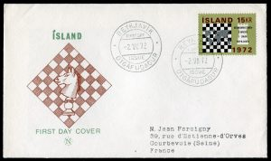 FDC timbre échecs islande 1972 chess stamp iceland