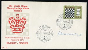 lettre 12 07 1972 chess iceland timbre echecs