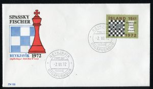 FDC iceland islande chess stamp timbre échecs 1972