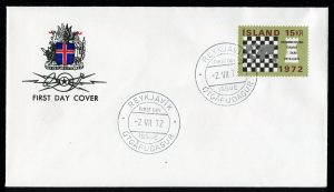 FDC Iceland islande chess échecs 1972 stamp timbre