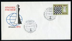 lettre 16 07 1972 chess iceland timbre echecs
