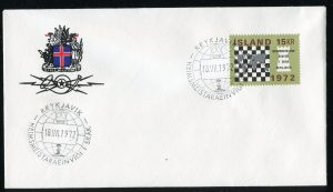 lettre 18 07 1972 chess iceland timbre echecs