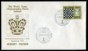 lettre 20 07 1972 chess iceland timbre echecs
