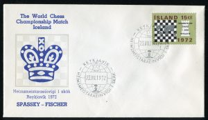 lettre 23 07 1972 chess iceland timbre echecs