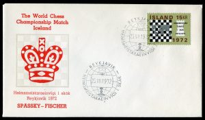 lettre 25 07 1972 chess iceland timbre echecs
